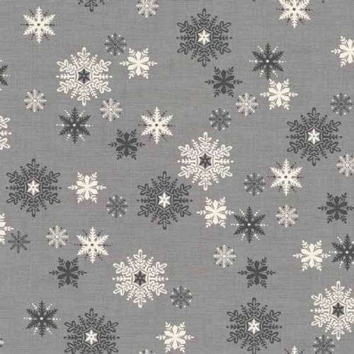 Makower Scandi Grey Snowflake Christmas Fabric